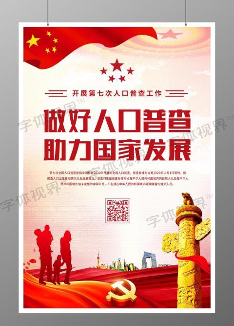人口普查助力国家发展宣传海报