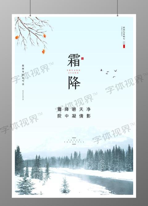简约白色24节气霜降宣传海报