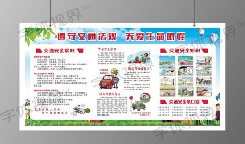绿色校园遵守交通法规知识宣传栏