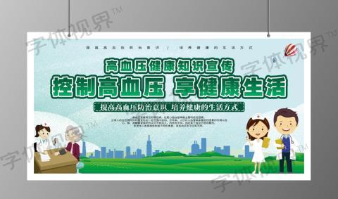 卡通绿色高血压健康体建健康生活展板banner