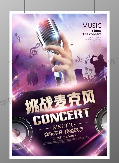 大气紫色麦克风歌手综艺节目唱歌音乐宣传海报设计