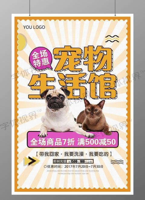 黄色时尚宠物用品海报设计