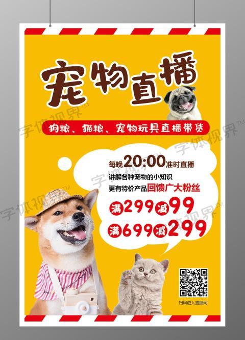 黄色秋田犬蓝猫英短宠物直播海报宣传