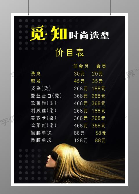 简约黑色时尚造型美发沙龙价目表海报