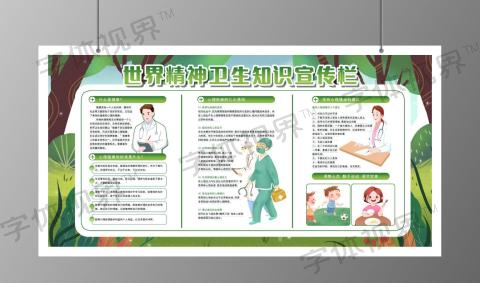 世界精神卫生知识宣传绿色展板